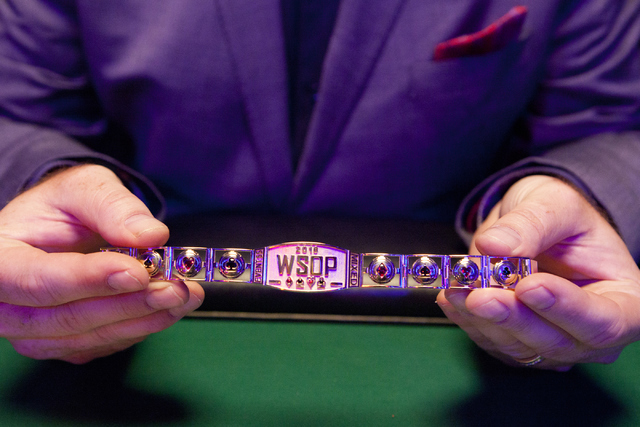 Ty Stewart, executive director of the World Series of Poker, holds up a winning poker bracelet in the Rio Convention Center in Las Vegas on Tuesday, July 5, 2016.Loren Townsley/Las Vegas Review-Jo ...