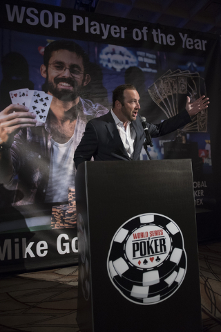 Ty Stewart, executive director of the World Series of Poker speaks to spectators and news media prior to the kickoff of Day 1A of the Main Event of the WSOP at the Rio Convention Center in Las Veg ...