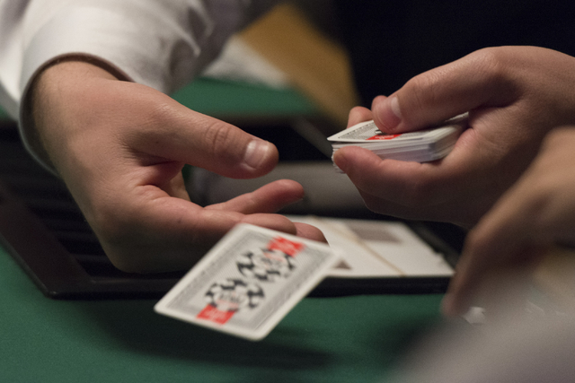 A dealer distributes cards during Day 1A of the Main Event of the World Series of Poker at the Rio Convention Center in Las Vegas Saturday, July 9, 2016. Jason Ogulnik/Las Vegas Review-Journal