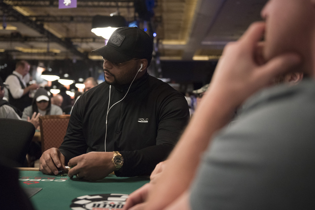 Former NFL player, Richard Seymour, plays in Flight A during Day 1A of the Main Event of the World Series of Poker at the Rio Convention Center in Las Vegas Saturday, July 9, 2016. Jason Ogulnik/L ...