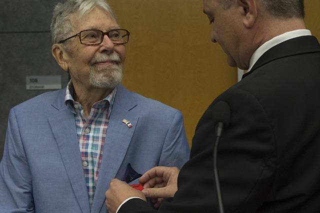 Pfc. and Las Vegas resident Robert Stava, receives Legion d'Honneur on Saturday, July 16, 2016, at the Atomic Testing Museum in Las Vegas. (Bridget Bennett/Las Vegas Review-Journal) Follow @bridge ...