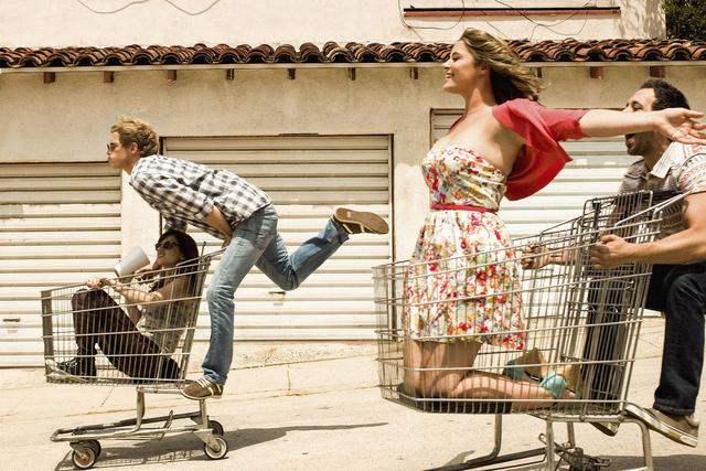 YOU'RE THE WORST --  Pictured: (l-r) Aya Cash as Gretchen Cutler, Chris Geere as Jimmy Shive-Overly, Kether Donohue as Lindsay Jillian, Desmin Borges as Edgar Quintero. CR: Autumn De Wilde/FX