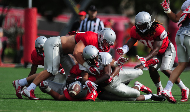 UNLV wide receiver Elijah Trosclair fumbles during a scrimmage at UNLV in Las Vegas, Friday August 19, 2016.  (Josh Holmberg/Las Vegas Review-Journal)
