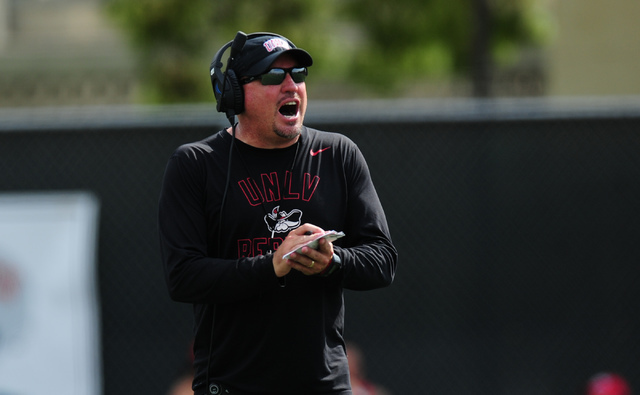 UNLV head coach Tony Sanchez is shown during a scrimmage at UNLV in Las Vegas, Friday August 19, 2016.  (Josh Holmberg/Las Vegas Review-Journal)