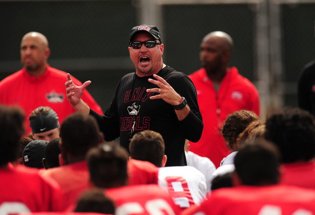 UNLV head coach Tony Sanchez addresses his players after their scrimmage at UNLV in Las Vegas, Friday August 19, 2016.  (Josh Holmberg/Las Vegas Review-Journal)