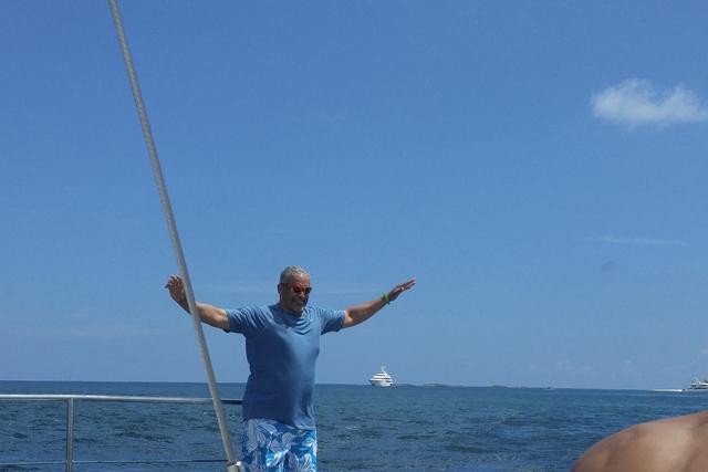 UNLV coach Marvin Menzies enjoying himself on a catamaran. (Mark Anderson/Las Vegas Review-Journal)