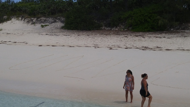UNLV is written in the sand on a beach at Rose Island in the Bahamas. (Mark Anderson/Las Vegas Review-Journal)