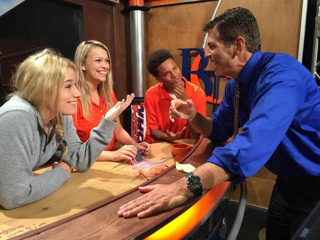 "Joe Barbara, who plays Gyp DeCarlo and others in Paris Las Vegas' ""Jersey Boys,"" speaks with Bishop Gorman High School students in this undated photo. He teaches broadcast media  ..."