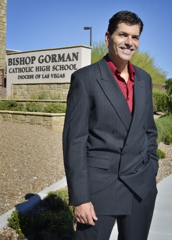 "Joe Barbara, who plays Gyp DeCarlo in ""Jersey Boys,"" and also teaches broadcast media and television and film production at Bishop Gorman Catholic High School, is shown at the school at 5959 S. Hu ..."