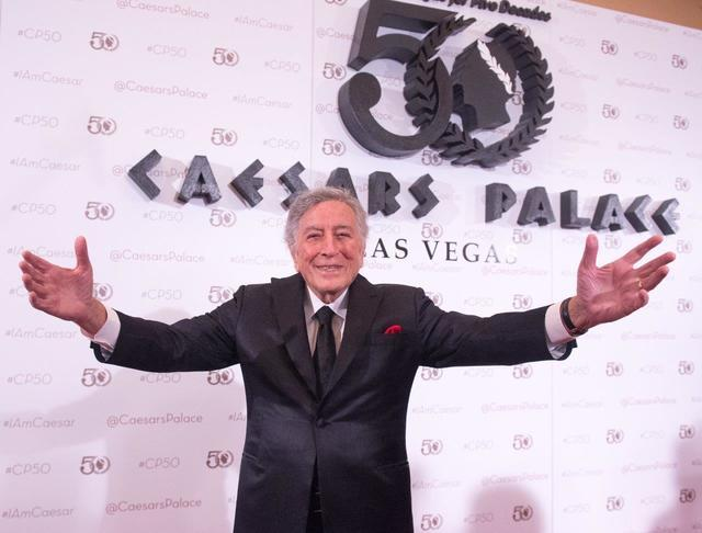 Tony Bennett arrives at Caesars Palace's 50th anniversary celebration Saturday, Aug. 6, 2016, in Las Vegas. (Tom Donoghue)