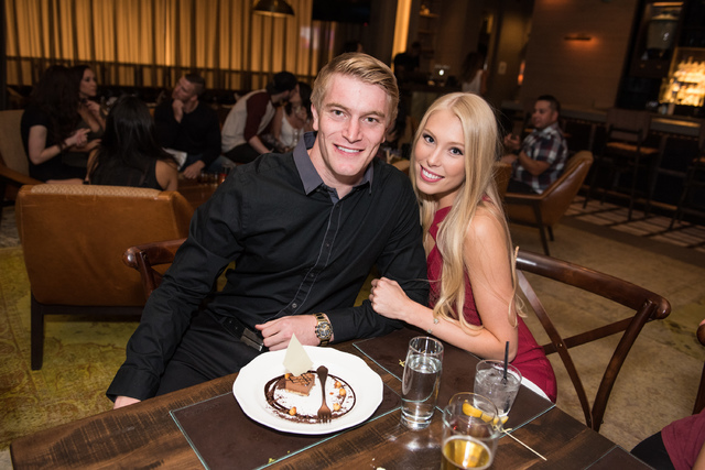 Olympic gold medalist Connor Fields of Las Vegas and his girlfriend, Laura Gruninger, at Herringbone in Aria on Monday, Aug. 29, 2016, in Las Vegas. (Tony Tran)