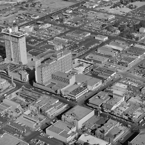 An aerial view of Binion's Horseshoe hotel-casino is seen on Fremont Street in downtown Las Vegas in this Las Vegas News Bureau file photo from Oct. 23, 1965. Photo/Las Vegas News Bureau