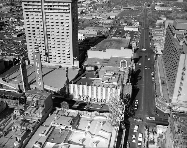 An aerial view of Binion's Horseshoe, Fremont, Golden Nugget hotel-casinos are seen on Fremont Street in downtown Las Vegas in this Las Vegas News Bureau file photo from Feb. 11, 1966. Photo/Las V ...