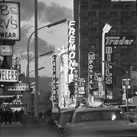 Fremont Street stops including Fremont, Horseshoe and Mint hotel-casinos, along with Trader Bills and El Portal, are seen downtown Las Vegas in this Las Vegas News Bureau file photo from March 8,  ...