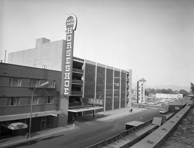 11/13/62 Horseshoe Hotel, Fremont Hotel construction downtown Las Vegas  CREDIT: Las Vegas News Bureau