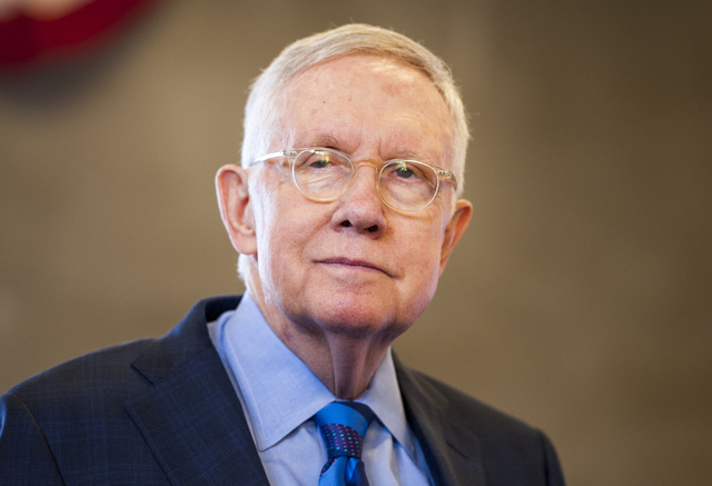 Sen. Harry Reid (D-Nev.) attends the ribbon-cutting ceremony for the new 158,000 square-foot Federal Justice Tower at 501 Las Vegas Blvd. South in Las Vegas on Thursday, Aug. 18, 2016. (Mark Damon ...