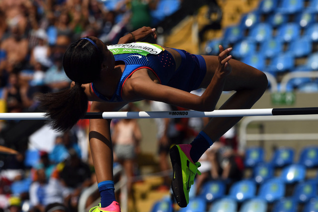 Aug 18, 2016; Rio de Janeiro, Brazil; Vashti Cunningham (USA) during the women's high jump qualifying in the Rio 2016 Summer Olympic Games at Estadio Olimpico Joao Havelange. (Kirby Lee/USA Today  ...