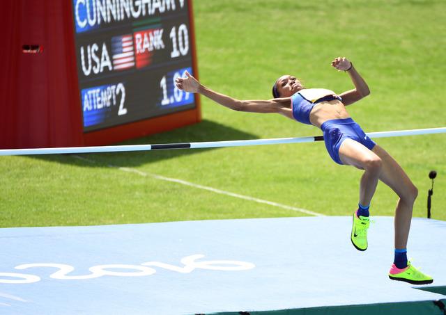 Aug 18, 2016; Rio de Janeiro, Brazil; Vashti Cunningham (USA) during the women's high jump qualifying round in the Rio 2016 Summer Olympic Games at Estadio Olimpico Joao Havelange. (John David Mer ...