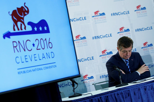 Republican presidential candidate Donald Trump's campaign chair and convention manager Paul Manafort appears at a press conference at the Republican Convention in Cleveland, July 19, 2016.  (Carlo ...
