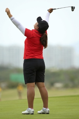 2016 Rio Olympics - Golf - Final - Women's Individual Stroke Play - Olympic Golf Course - Rio de Janeiro, Brazil - 20/08/2016.   Inbee Park (KOR) of Korea reacts on the 18th green as she wins the  ...