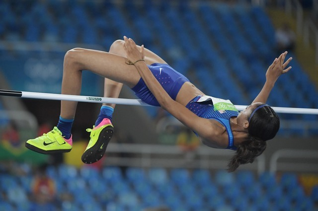 Aug 20, 2016; Rio de Janeiro, Brazil; Vashti Cunningham (USA) during the women's high jump final during the Rio 2016 Summer Olympic Games at Estadio Olimpico Joao Havelange. Mandatory Credit: Kirb ...