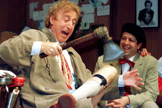 "American actor Gene Wilder (L) performs alongside compatriot Rolf Saxon, October 2, during the rehearsal of a scene from Neil Simon's 'Laughter on the 23rd Floor."" (Reuters)"