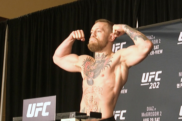 Conor McGregor is seen at the UFC 202 official weigh-in at Red Rock Resort Casino in Las Vegas on Friday, Aug. 19, 2016. All fighters made weight. (Heidi Fang/Las Vegas Review-Journal)