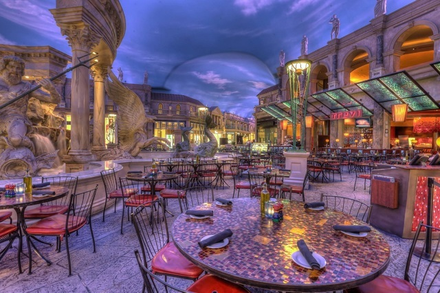The patio at Trevi Italian Restaurant in The Forum Shops at Caesars Palace.