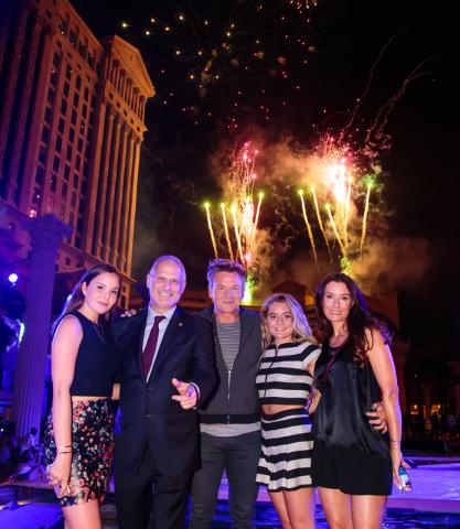 Holly Ramsay, Gary Selesner, Gordon Ramsay, Matilda Ramsay and Tana Ramsay attend Caesars Palace's 50th anniversary celebration Friday, Aug. 5, 2016, at Garden of the Gods Pool Oasis. (Erik Kabik)
