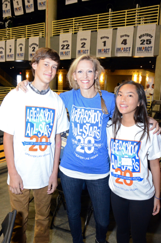 Jenna Morton, center, and two youngsters.