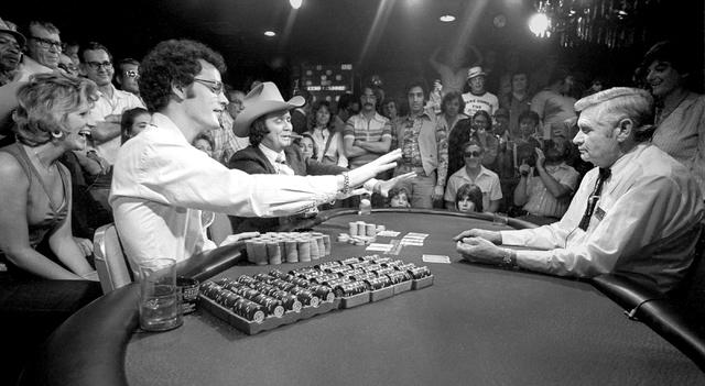 1978 World Series of Poker winner Bobby Baldwin, left, is seen at Binion's Horseshoe in this Las Vegas News Bureau file photo from May 16, 1978. Photo/Las Vegas News Bureau
