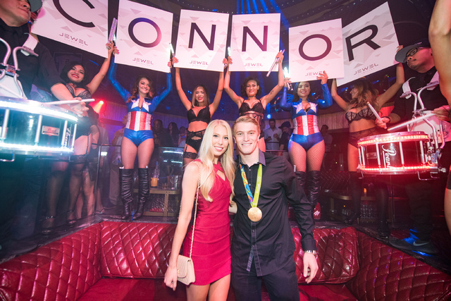 Olympic gold medalist Connor Fields of Las Vegas with his girlfriend, Laura Gruninger, at Jewel in Aria on Monday, Aug. 29, 2016, in Las Vegas. (Tony Tran)