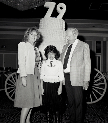 Benny Binion poses in this Las Vegas News Bureau file photo on his 79th birthday party at the Las Vegas Hilton in Las Vegas on Nov. 18, 1983. Photo/Las Vegas News Bureau