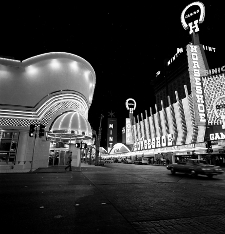 The Golden Nugget and Horseshoe hotel-casinos are seen on Fremont Street in downtown Las Veas in this Las Vegas News Bureau file photo from Jan. 4, 1985. Photo/Las Vegas News Bureau