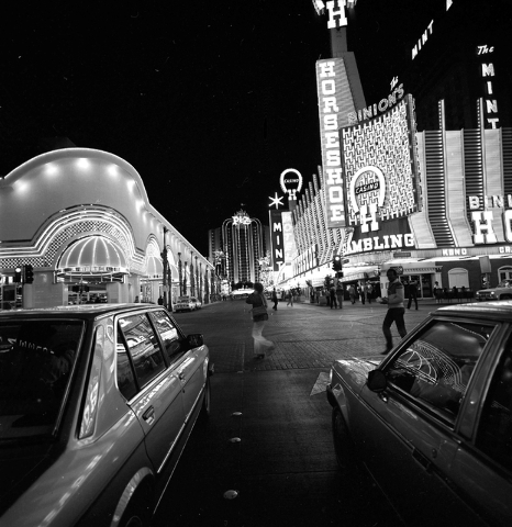 The Golden Nugget, Horseshoe and Union Plaza hotel-casinos are seen on Fremont Street in downtown Las Vegas in this Las Vegas News Bureau file photo from Jan. 4, 1985. Photo/Las Vegas News Bureau
