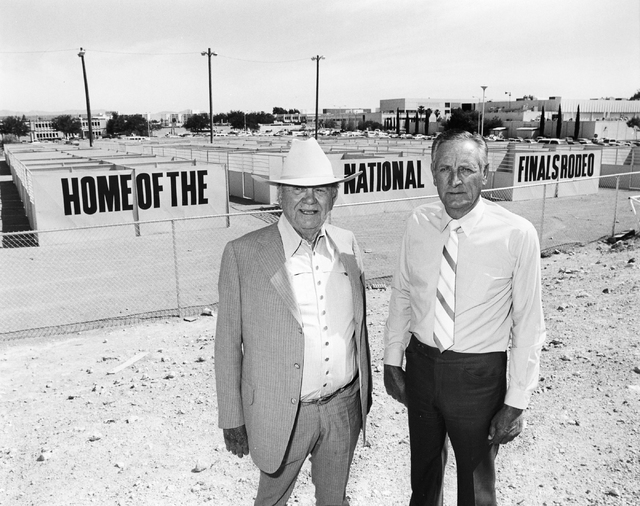 Ralph Lamb and Benny Binion, left, pose together in this Las Vegas News Bureau file photo from May 5, 1980. Photo/Las Vegas News Bureau
