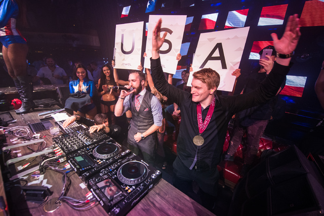 Olympic gold medalist Connor Fields, right, of Las Vegas with DJ 3LAU at Aria on Monday, Aug. 29, 2016, in Las Vegas. (Tony Tran)