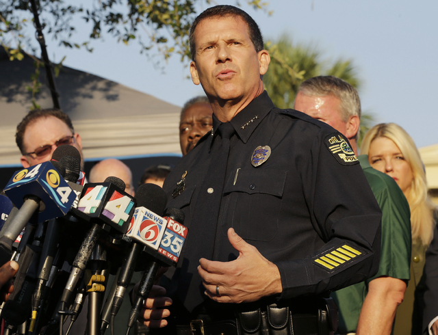 Orlando Police Chief John Mina describes the details of the fatal shootings at the Pulse Orlando nightclub during a media briefing Monday, June 13, 2016, in Orlando. (Chris O'Meara/AP)