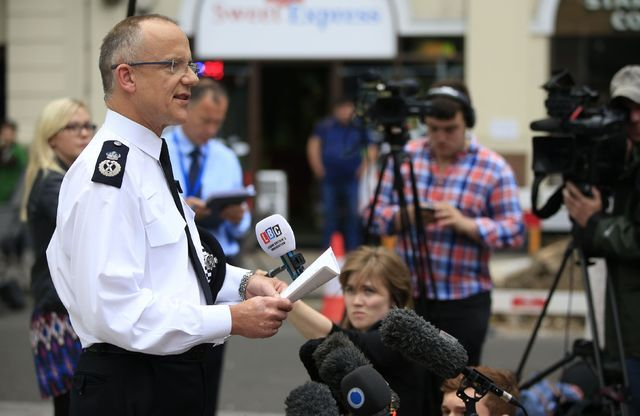 Scotland Yard's Assistant Commissioner Mark Rowley speaks to the media outside New Scotland Yard in London, Thursday Aug. 4, 2016, about a knife attack in central London late Wednesday. One person ...