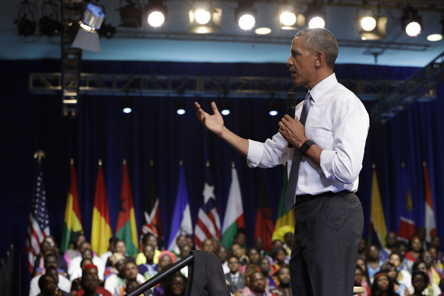 President Barack Obama speaks during a Young African Leaders Initiative event at the Omni Shoreham Hotel, Wednesday, Aug. 3, 2016, in Washington. (Jacquelyn Martin/Associated Press)