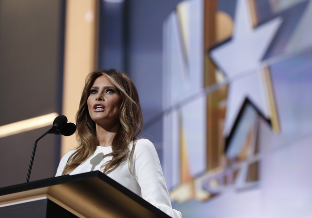 In this July 18, 2016 file photo, Melania Trump, wife of Republican Presidential Candidate Donald Trump speaks during first day of the Republican National Convention in Cleveland. Melania Trump's  ...