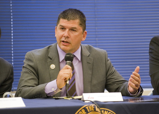 In this April 21, 2016 photo, Stockton Mayor Anthony Silva participates in a mayoral candidate forum hosted by the National Association for the Advancement of Colored People in Stockton, Calif. Au ...