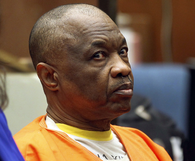 "FILE - In this Feb. 6, 2015, file photo, Lonnie Franklin Jr., who has been dubbed the ""Grim Sleeper"" serial killer, sits during a court hearing in Los Angeles. Franklin faces the ..."
