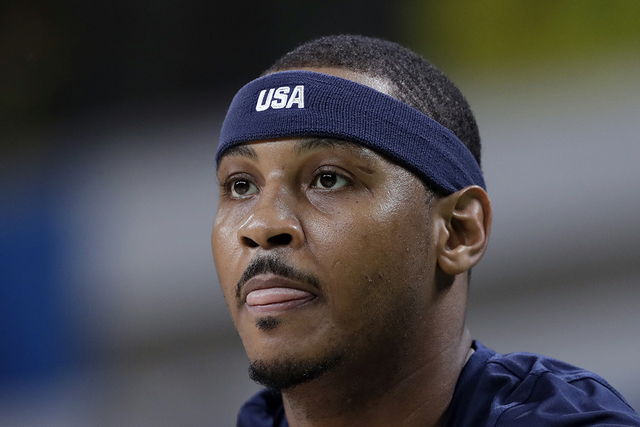 United States' Carmelo Anthony warms up before a basketball game against Australia at the 2016 Summer Olympics in Rio de Janeiro, Brazil, Wednesday, Aug. 10, 2016. (Charlie Neibergall/AP)