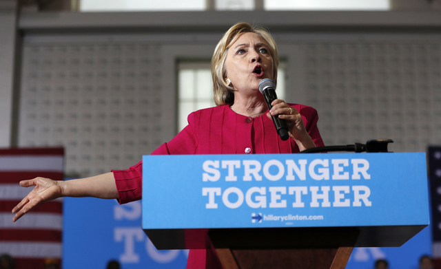 In this Aug. 16, 2016 file photo, Democratic presidential candidate Hillary Clinton speaks in Philadelphia. More than half the people outside the government who met with Hillary Clinton while she  ...