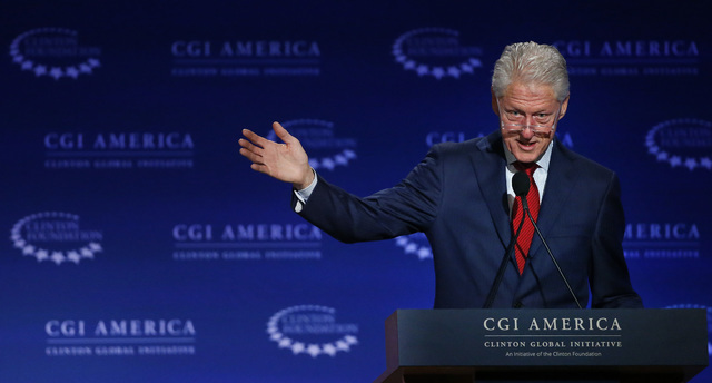 In this June 10, 2015 file photo, former U.S. President Bill Clinton speaks at annual gathering of the Clinton Global Initiative America, which is a part of The Clinton Foundation, in Denver. More ...