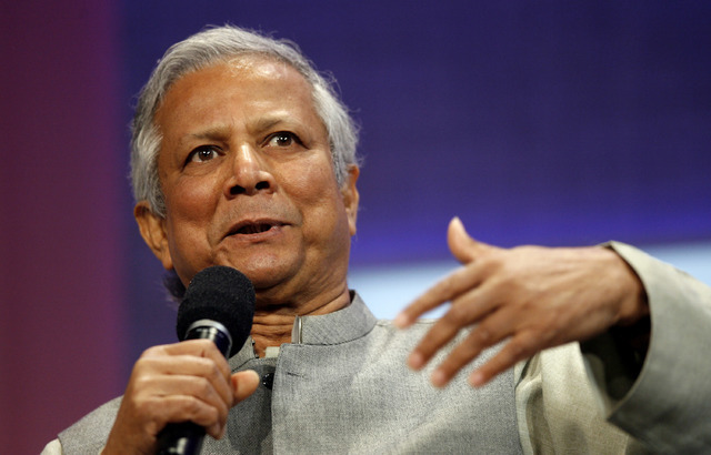 In this Sept. 26, 2008 file photo, Muhammad Yunus speaks during a panel discussion on rural development at the Clinton Global Initiative annual meeting in New York. More than half the people outsi ...