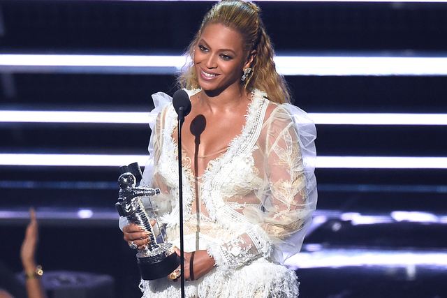"Beyonce accepts the award for Video of the Year for ""Lemonade"" at the MTV Video Music Awards at Madison Square Garden on Sunday, Aug. 28, 2016, in New York. (Charles Sykes/AP)"