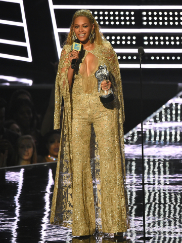 Beyonce accepts the award for best female video for Hold Up at the MTV Video Music Awards at Madison Square Garden on Sunday, Aug. 28, 2016, in New York. (Charles Sykes/AP)