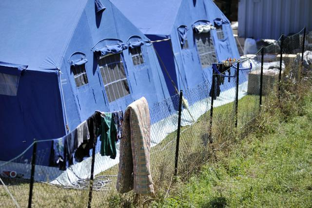 A view of the tent camp that was set in Arquata Del Tronto, central Italy, Monday, Aug. 29, 2016. With thousands left homeless after Italy's earthquake, authorities are debating how to prov ...